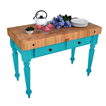 48'' Caribbean Blue Work Table