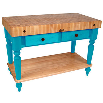 John Boos Cucina Rustica Kitchen Cart, 48in x 24in, Bottom Shelf, Caribbean Blue