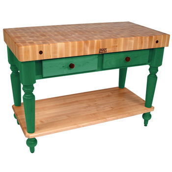 John Boos Cucina Rustica Kitchen Cart, 48in x 24in, Bottom Shelf, Clover Green