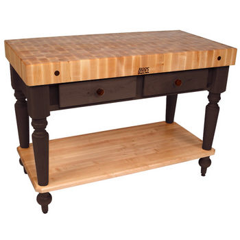 48'' French Roast Work Table with Shelf