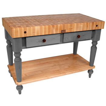 "John Boos Cucina Rustica Kitchen Cart with Shelf, 48"" x 24"", Slate Gray"