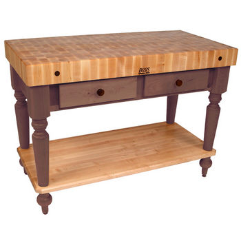 John Boos Cucina Rustica Kitchen Cart, 48in x 24in, Bottom Shelf, Walnut Stain