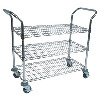 """John Boos Chrome Utility Wire Bussing Cart 36"""" W x 18"""" D, 3-Shelves and Locking Casters with Bumpers"""