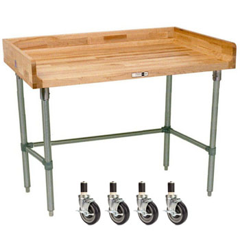 "John Boos 1-3/4"" Thick Maple Varnique Top Work Table w/ 4"" Backsplash & Stainless Steel Base"