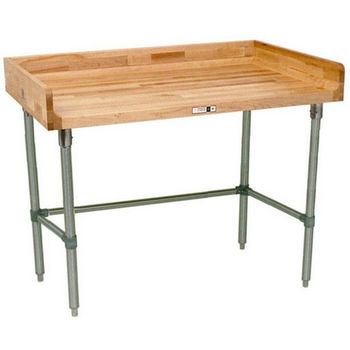 "1-3/4"" Thick Maple Top Kitchen Island with 4"" Backsplash and Galvanized Base by John Boos"