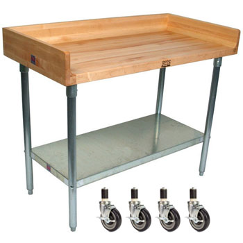 Oil  Work Table w/ Butcher Block Top and Casters