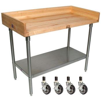 "John Boos 1-3/4"" Thick Maple Varnique Top Work Table w/ 4"" Backsplash, Galvanized Base & Shelf"