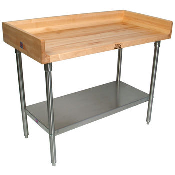 "John Boos 1-3/4"" Thick Maple Top Work Table w/ 4"" Backsplash, Stainless Steel Base & Shelf, Oil Finish"