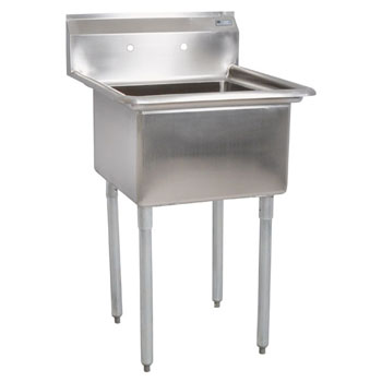 "John Boos E-Series Single Bowl Sink 12"" Bowl Depth"