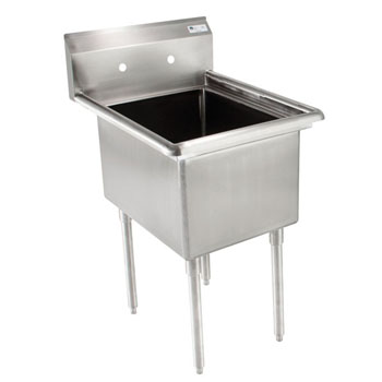"John Boos E-Series Single Bowl Sink 14"" Bowl Depth"