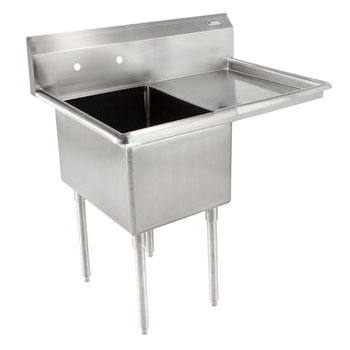 John Boos E-Series Compartment Single Bowl Sink in Multiple Sizes with Right Drainboard, 18-Gauge Stainless Steel
