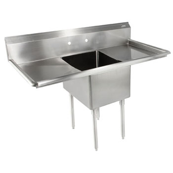 John Boos E-Series Compartment Single Bowl Sink in Multiple Sizes with Left and Right Drainboards, 18-Gauge Stainless Steel