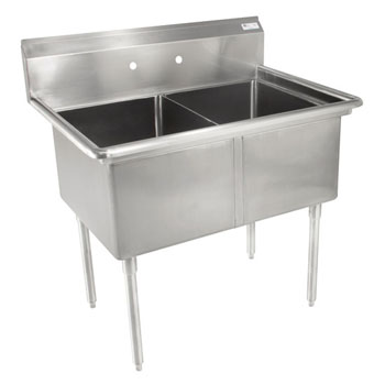 John Boos E-Series Compartment Double Bowl Sink in Multiple Sizes with No Drainboard, 18-Gauge Stainless Steel