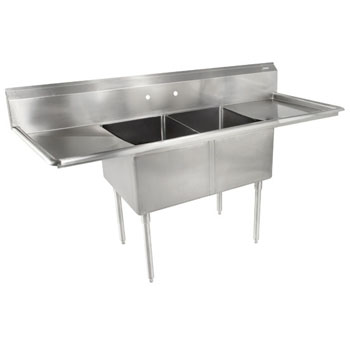 John Boos E-Series Compartment Double Bowl Sink in Multiple Sizes with Left and Right Drainboards, 18-Gauge Stainless Steel