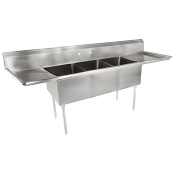John Boos E-Series Compartment Three Bowl Sink in Multiple Sizes Sizes with Left and Right Drainboards, 18-Gauge Stainless Steel