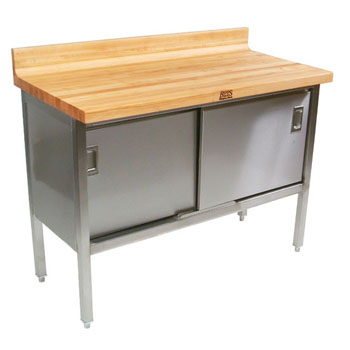 "John Boos Stainless Steel Enclosed Table w/ 1-3/4"" Thick Hard Rock Maple Top, Sliding Doors & 4"" Riser on Back Only"