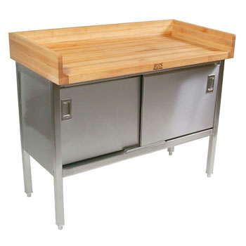 "John Boos Stainless Steel Enclosed Table w/ 1-3/4"" Thick Hard Rock Maple Top, Sliding Doors & 4"" Riser - Rear & Both Ends"