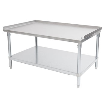 "John Boos 18-Gauge Commerical Stainless Steel Top Equipment Stand with 1-1/2"" Rear & Side Riser, Galvanized Legs and Adjustable Shelf"