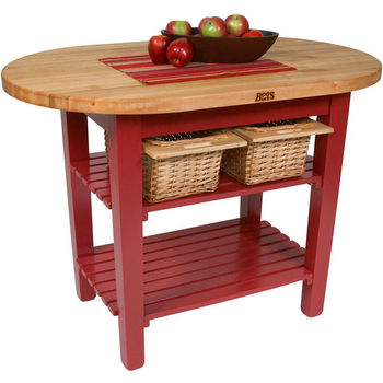 "John Boos Elliptical C-Table Kitchen Island, Barn Red Base with 1-3/4"" Thick Hard Rock Maple Top, (2) Slatted Wood Shelves and Casters, 48"" W x 30"" D, Boos Block Cream w/Beeswax Finish"