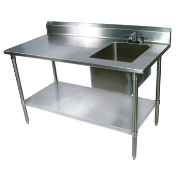 "John Boos Commercial Prep Table Sink Bowl Right Sink in Multiple Sizes with 5"" Clip-Down Riser, 16-Gauge Stainless Steel, Galvanized Legs and Shelf"
