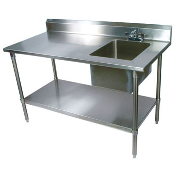 "John Boos Commercial Prep Table Sink Bowl Right in Multiple Sizes with 5"" Clip-Down Riser, 16-Gauge Stainless Steel, Stainless Steel Legs and Shelf"