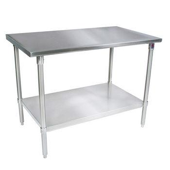 John Boos 16-Gauge Stainless Steel Worktable w/ Galvanized Shelf & Legs