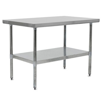 Work Table w/ Galvanized Legs & Shelf
