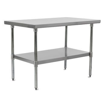 Work Table w/ Stainless Steel Legs & Shelf