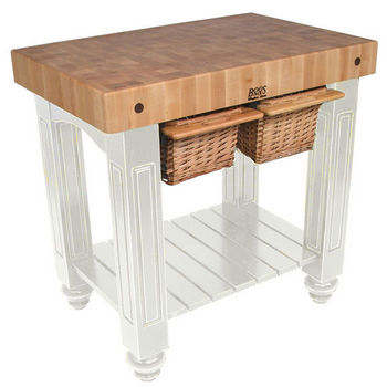 American Heritage Collection Kitchen Tables And Work Tables By - Boos gathering block ii 36x24 butcher block table 2 wicker basket