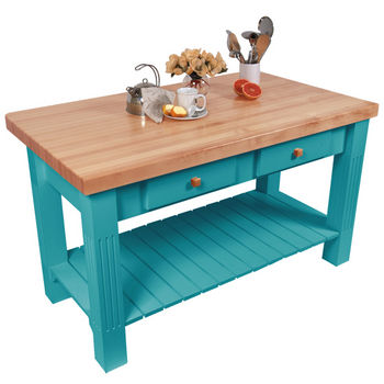 "John Boos Grazzi Table, 60""W x 28""D x 2¼"" Thick, Caribbean Blue"