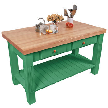 "John Boos Grazzi Table, 60""W x 28""D x 2¼"" Thick, Clover Green"