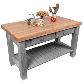 John Boos Grazzi Kitchen Island with Maple Top and Breakfast Bar, Slate Gray