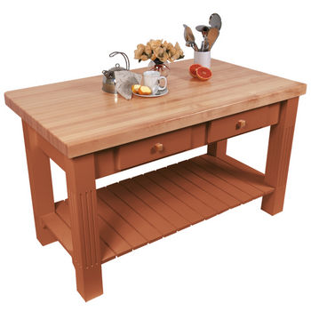 "John Boos Grazzi Table, 60""W x 28""D x 2¼"" Thick, Spicy Latte"