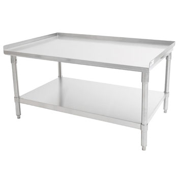 "John Boos GS6-GS Series 16-Gauge Stainless Steel Top Equipment Stand with 1-1/2"" Rear & Sides Riser, Galvanized Legs and Adjustable Shelf, Knocked Down"