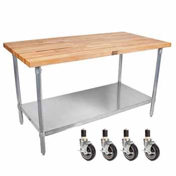 "John Boos 1¾"" Maple Top Worktables w/ Galvanized Steel Base & Shelf | Oil or Varnique Finish"