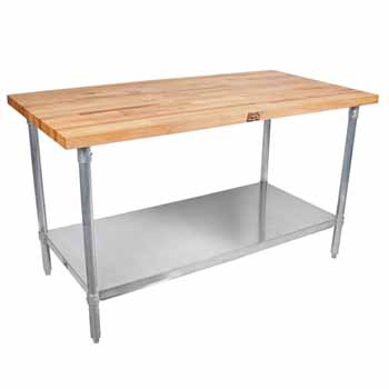 "1-3/4"" Thick Maple Top Kitchen Islands with Galvanized Base and Shelf by John Boos"