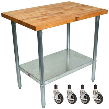 "John Boos 1½"" Blended Maple Top Worktables w/ Galvanized Base & Shelf 