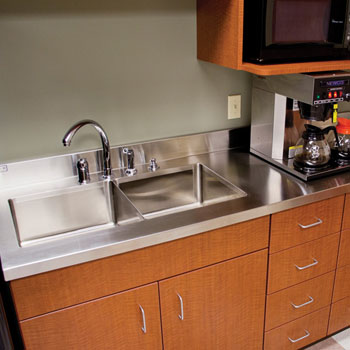 """John Boos Stainless Steel Counter Top with 6"""" Boxed Backsplash"""
