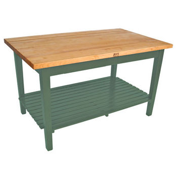 """John Boos Classic Country Work Table with Shelf, 36"""" Deep"""
