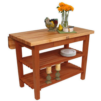 John Boos Kitchen Island Bar Work Table, 48in x 38in, Warm Cherry Stain