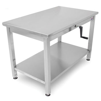 "John Boos Ergonomic Adjustable Hydraulic LIFT Work Table 30"" W - 72"", 16-Gauge Stainless Steel Flat Top with Casters and Undershelf Option"