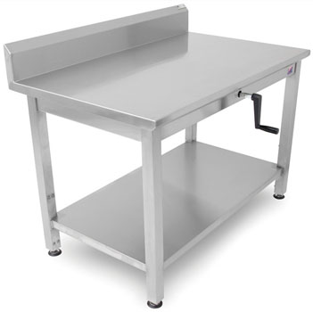 "John Boos Ergonomic Adjustable Hydraulic LIFT Work Table 48"" W - 72"" W, 16-Gauge Stainless Steel Flat Top with 5"" Riser with Casters and Undershelf Option"