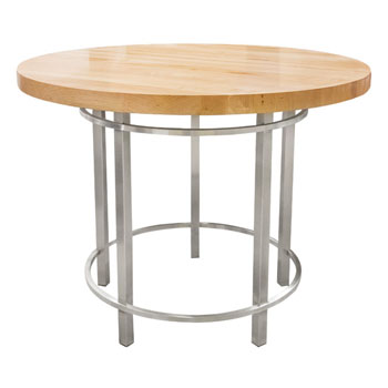 John Boos Maple Metro Oasis Table, Varnique, with Brushed SS Base