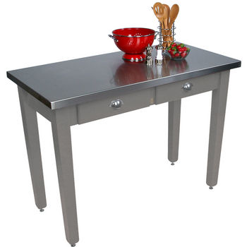 "John Boos Cucina Milano Table with Satinless Steel Top, 60""W x 36""D x 30"" or 36""H, Slate Gray"