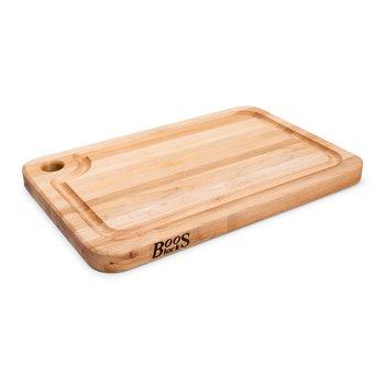 "John Boos Prestige Board Cutting Board, Northern Hard Rock Maple, Edge Grain, 18"" W x 14"" D x 1-1/4"" Thick, Juice Groove (One Side), Reversible w/ Thumb Hole, Boos Block Cream Finish w/ Beeswax"