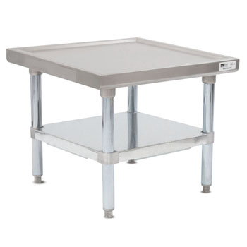 John Boos MS4 Series 14-Gauge Stainless Steel Top Commercial Machine Stand with Galvanized Legs and Adjustable Shelf, Knocked Down