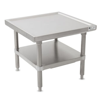 John Boos MS4 Series 14-Gauge Stainless Steel Top Commercial Machine Stand with Stainless Steel Legs and Adjustable Shelf, Knocked Down