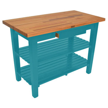 Caribbean Blue Oak Table w/ 2 Shelves