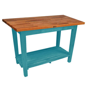 Caribbean Blue Oak Table w/ 1 Shelf