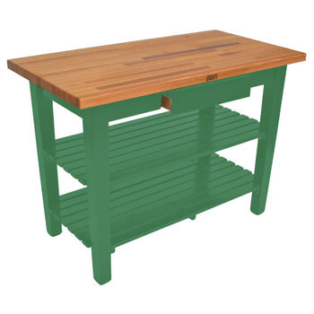Clover Green Oak Table w/ 2 Shelves
